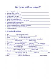 English Worksheets: do past from present