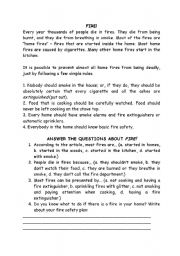 English Worksheets: Fire comprehension text