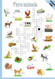 English Worksheets: FARM ANIMALS - CROSSWORD