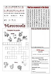 Printables Mammal Worksheets english teaching worksheets mammals types of animals mammals