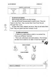 English Worksheet: Alive beings in habitats