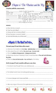 English Worksheet: Alice�s Adventures in Wonderland chapters  6 The Duchess and the Pig and chapt 7 TheMad Tea Party