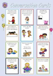 English Worksheet: 24 Conversation Cards