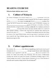 English Worksheets: CABINET OF MALAYSIA