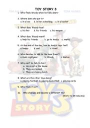 English Worksheet: toy story 3 from thirty to forty five minutes