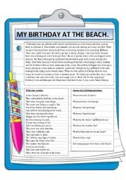 English Worksheet: My birthday at the beach. Reading comprehension.