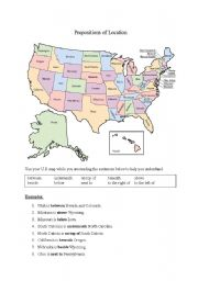 English Worksheets: Prepositions of Location (U.S. Geography)