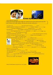 English Worksheet: scary Halloween story