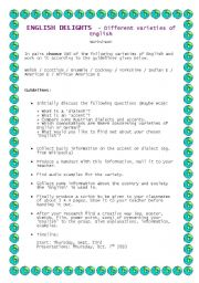 English Worksheets: English delights - different Englishes