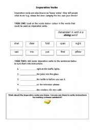 English Worksheets Imperative Verbs