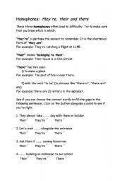 English Worksheets: They�re their there