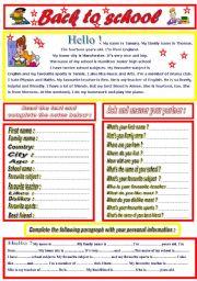 English Worksheet: Back to school ( Tamara´s School)