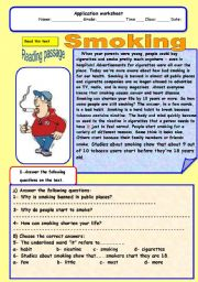 English Worksheet: smoking