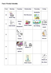 English Worksheet: A Weekly Schedule