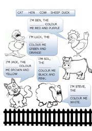 English Worksheets: coloring farm animals