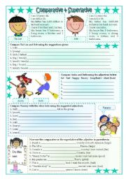 English Worksheet: Short Comparatives & Superlatives (exercises) 1, 2 syllables and irregular forms ***fully editable
