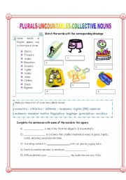 English Worksheets: Plurals, uncountables, collective nouns