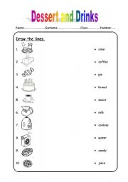 English worksheet: dessert and drinks