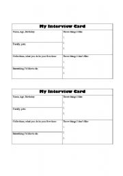 English Worksheets: Interview Cards
