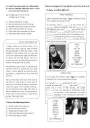 English Worksheet: Daily Routine (for she/he)