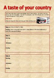 English Worksheet: A taste of your country