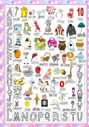 English Worksheet: My ABC :poster/matching game/learning new vocabulary (editable)