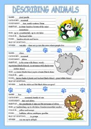 English Worksheet: describing animals 3/3