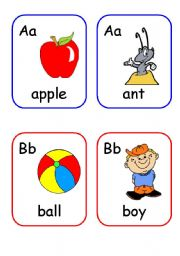 English Worksheets: Alphabet words flashcards PART 1