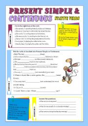 English Worksheet: resent simple and continuous with stative verbs
