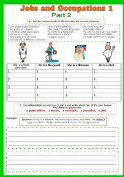 English Worksheet: Jobs and Occupations 2/5 + Game (fully editable)
