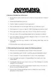 English Worksheet: Bowling for Columbine - observation sheet