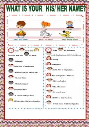 English Worksheets: WHAT IS YOUR / HIS / HER NAME ?