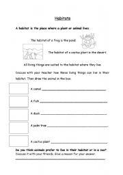 English Worksheet: animals and  plants habitats