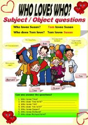 English Worksheet: SUBJECT/OBJECT QUESTIONS