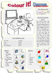colour it classroom prepositions of place esl worksheet by tanyazzz. Black Bedroom Furniture Sets. Home Design Ideas
