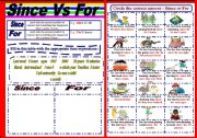 English Worksheets: Since Vs For Worksheet