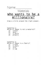 English Worksheet: Who Wants to Be A millionaire? Materials.