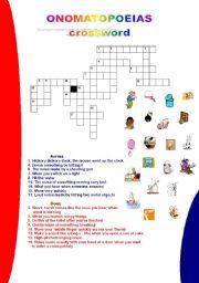 English Worksheet: ONOMATOPOEIAS- CROSSWORD