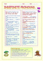 English Worksheet: INDEFINITE PRONOUNS   WS.