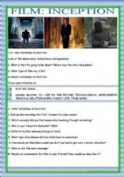 English Worksheets: MOVIE: INCEPTION