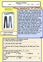English Worksheets: The history of jeans