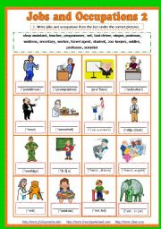 English Worksheets: Jobs and Occupations with transcription 3/5  (pictionary + 3 exercises + key) Fully editable