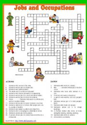 English Worksheets: Jobs and Occupations Crossword 5/5. Key included.