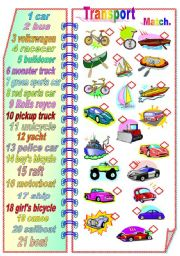 English Worksheets: Transport 1- Matching activity **fully editable