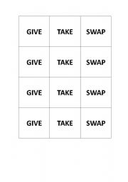 English Worksheets: Give Take Swap cards