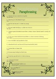 English Worksheet: FCE: PARAPHRASING