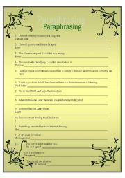 English Worksheets: FCE: PARAPHRASING