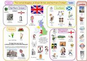 English Worksheet: The UK symbols & basic facts poster (fully editable)