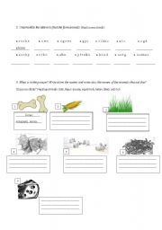 english worksheets farm animals and their food. Black Bedroom Furniture Sets. Home Design Ideas