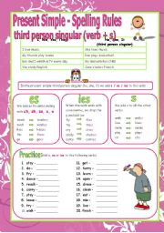 English Worksheet: Present simple -Third person singular -  Spelling Rules